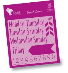 STENCIL AMELIE - 09014 Días Semana Ingles