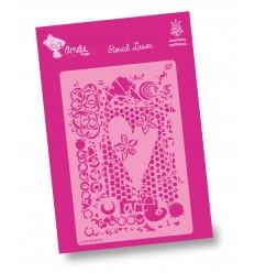 Stencil Amelie - 03089 Corazón y Decoración