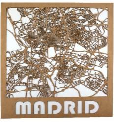 Mapa de madera de Madrid
