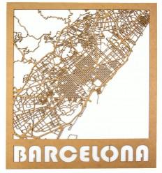 Mapa de madera de Barcelona