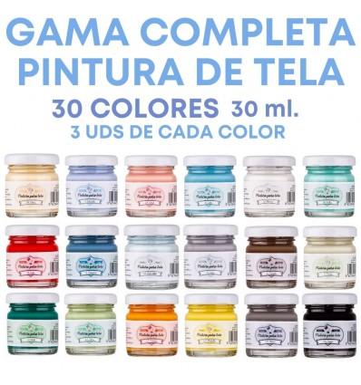 GAMA COMPLETA PINTURA DE TELA AMELIE 90 UDS. 30ML.